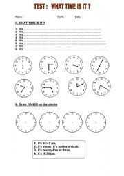 English Worksheet:  short TEST / what time is it ? Level A1+/A2 for intermediate