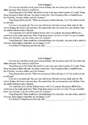 English Worksheets: Is Lili Happy? (elementary reading with questions)