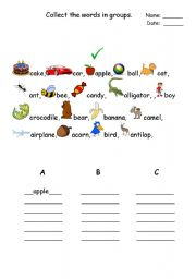 English Worksheets: Collecting wrods ABC