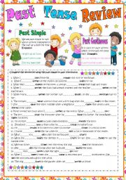 English Worksheet: Past Tense Review (past simple and past continuous)