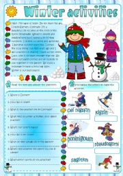 English Worksheet: Winter Activities (Greyscale included)