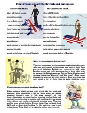 English Worksheet: Stereotypes about British and American