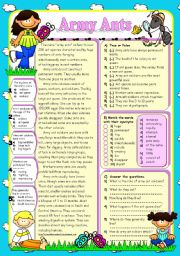 English Worksheet: ARMY ANTS *Reading Comprehension* (B&W+KEY included)
