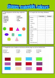 Shapes, materials and colours