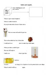 English Worksheets: Solids and liquids