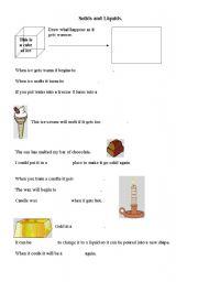 English Worksheets: Solids and liquids