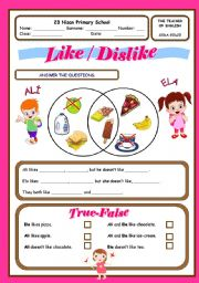 likes and dislikes for kids