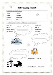 English Worksheets: introducing oneself