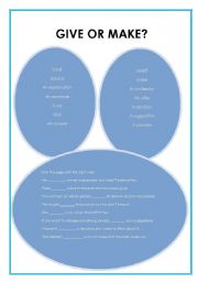 English Worksheets: Give or make?