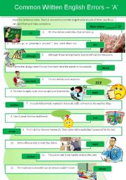 English Worksheet: Common Written English Errors 2 - �A�