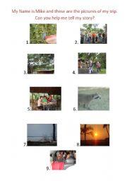 English worksheet: My trip