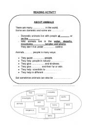 English Worksheets: about animals. part 2