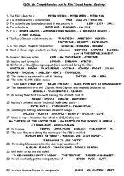 English Worksheets: Dead poets�society Multiple choice quiz