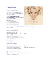 English Worksheet: I wanna Go - Britney Spears