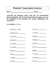 Phonetic transcription worksheets