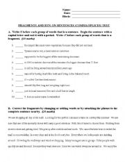 English worksheets: COmplete Sentence, FRagments, Run-ons