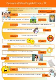 English Worksheet: Common Written English Errors 3 - �B� (with detailed ans key)