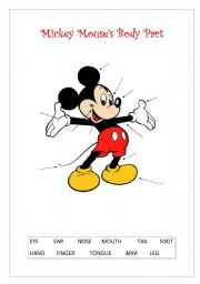 English Worksheet: mickey mouse�s body part