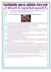 English Worksheets: grammar with Harry Potter : direct and reported speech - lesson