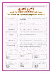 > Phrasal Verbs Practice 75! > --*-- Definitions + Exercise --*-- BW Included --*-- Fully Editable With Key!