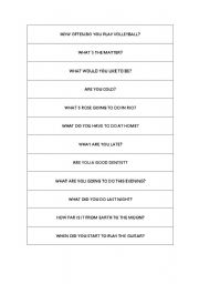 English Worksheets: Easy questions