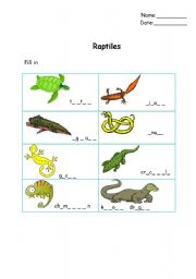 English Worksheet: Reptiles filling in
