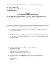 English Worksheets: MOVIE-Contact-Comprehension Questions and Critical Thinking