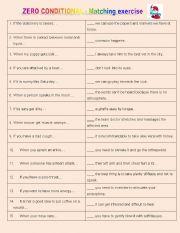 English Worksheet: Zero Conditional - Matching exercise