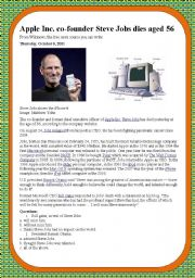 English Worksheet: Steve Jobs Dies
