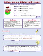 English Worksheet: Defining and Non-defining relative clauses