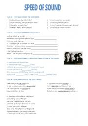 English Worksheets: Speed of Sound - Coldplay