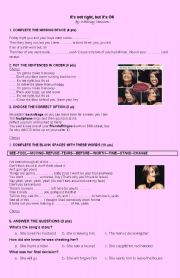 English Worksheets: It�s not right but�s OK, Whitney Houston