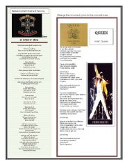 English Worksheets: Guns n Roses and Queen song lyrics