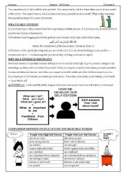 English Worksheet: Moral Education: Self Esteem