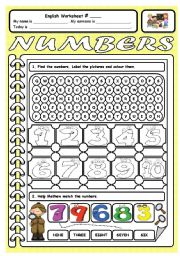 English worksheets: the Numbers worksheets, page 10