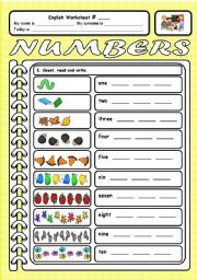 English Worksheets: Numbers 1-10