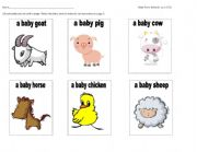 English Worksheet: Baby Farm Animals Cut and Paste