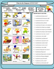 English Worksheet: WHAT DO THE SIMPSONS OFTEN DO?