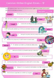 English Worksheets: Common Written English Errors 4 - �B�