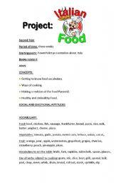 English worksheet: Project on Italian Food