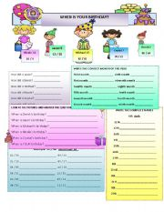 English Worksheet: Ordinal Numbers, Dates, Months, Birthdays, and Age.