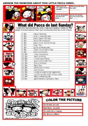 English Worksheets: WHAT DID PUCCA DO LAST SUNDAY?