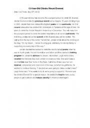 English Worksheets: Mount Everest