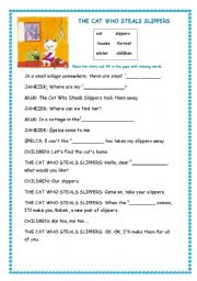 English Worksheets: The cat who steals slippers