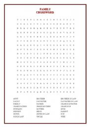 English Worksheet: CROSSWORD (FAMILY)
