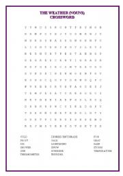 English Worksheet: CROSSWORD (Nouns of the weather)