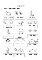 English Worksheets: one or two