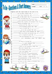 English Worksheet: TO BE - QUESTIONS & SHORT ANSWERS + KEY