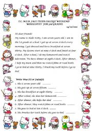 English Worksheets: Daily routines reading