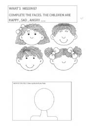 English Worksheet: Draw the missing parts of the faces